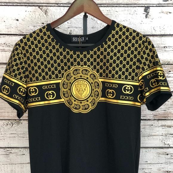 bf23cce775e3 Men s Gucci Black   Gold Shirt